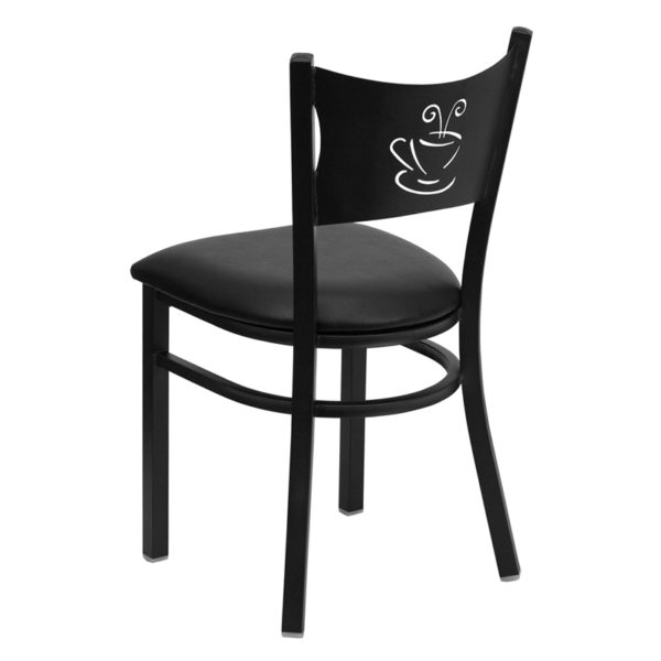 Metal Dining Chair Black Coffee Chair-Black Seat