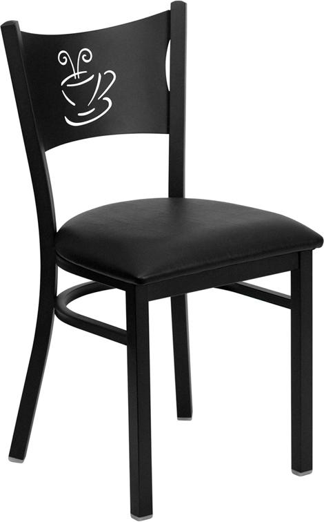 Wholesale HERCULES Series Black Coffee Back Metal Restaurant Chair - Black Vinyl Seat