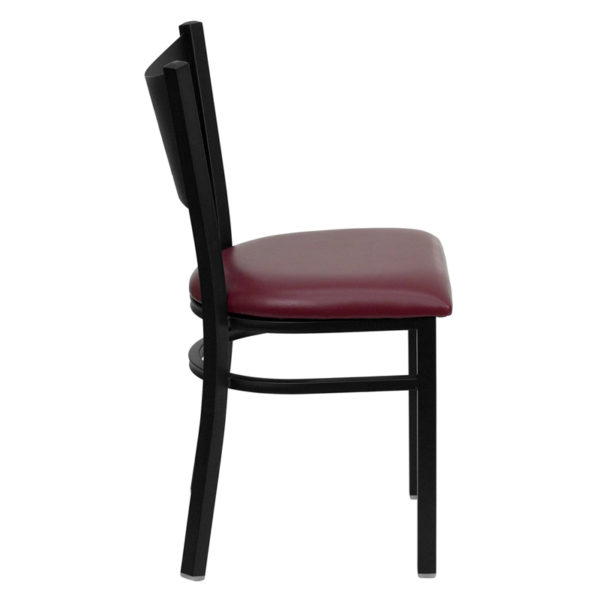Lowest Price HERCULES Series Black Coffee Back Metal Restaurant Chair - Burgundy Vinyl Seat