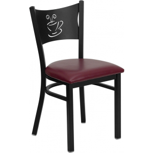 Wholesale HERCULES Series Black Coffee Back Metal Restaurant Chair - Burgundy Vinyl Seat