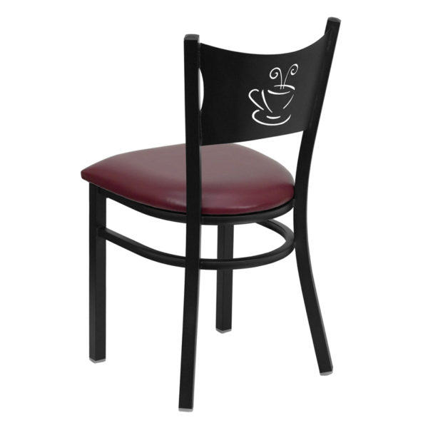 Metal Dining Chair Black Coffee Chair-Burg Seat