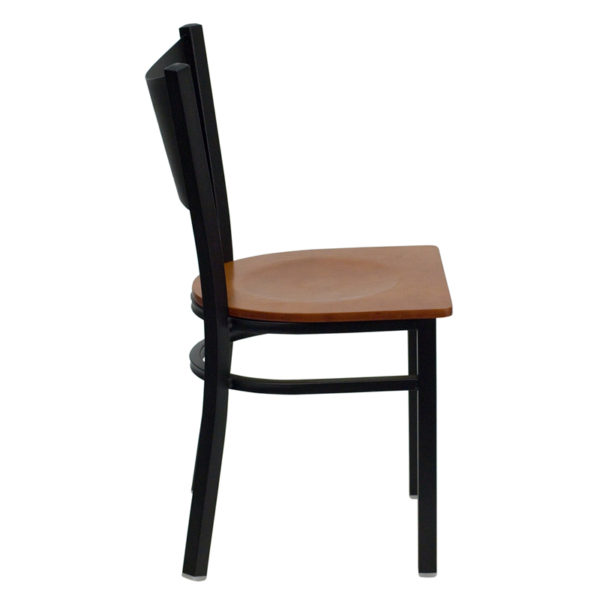 Lowest Price HERCULES Series Black Coffee Back Metal Restaurant Chair - Cherry Wood Seat