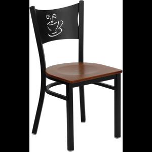 Wholesale HERCULES Series Black Coffee Back Metal Restaurant Chair - Cherry Wood Seat