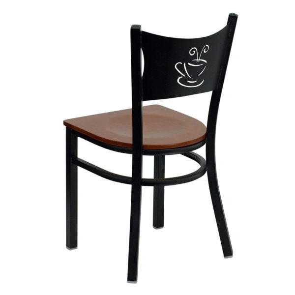 Metal Dining Chair Black Coffee Chair-Cherry Seat