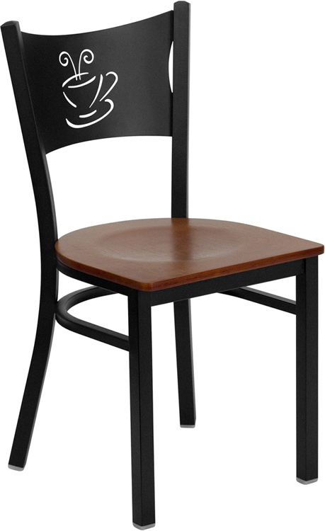 Wholesale HERCULES Series Black Coffee Back Metal Restaurant Chair - Cherry Wood Seat