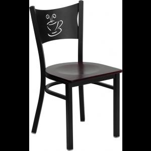 Wholesale HERCULES Series Black Coffee Back Metal Restaurant Chair - Mahogany Wood Seat