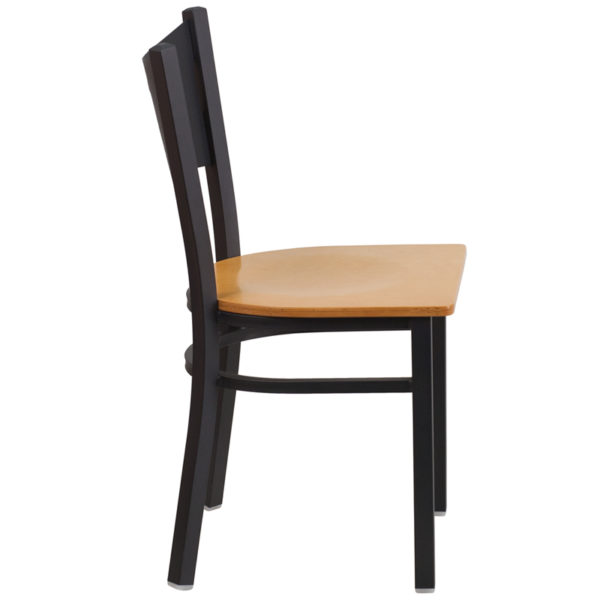 Lowest Price HERCULES Series Black Coffee Back Metal Restaurant Chair - Natural Wood Seat