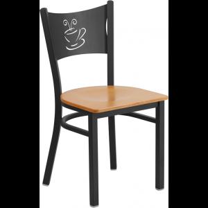 Wholesale HERCULES Series Black Coffee Back Metal Restaurant Chair - Natural Wood Seat