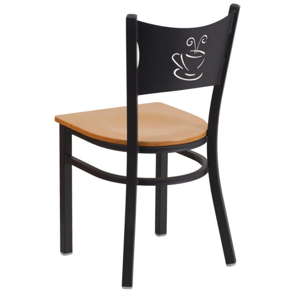 Metal Dining Chair Black Coffee Chair-Nat Seat