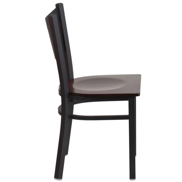 Lowest Price HERCULES Series Black Coffee Back Metal Restaurant Chair - Walnut Wood Seat