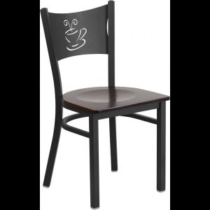 Wholesale HERCULES Series Black Coffee Back Metal Restaurant Chair - Walnut Wood Seat