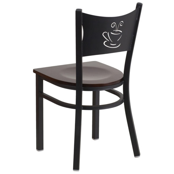 Metal Dining Chair Black Coffee Chair-Wal Seat