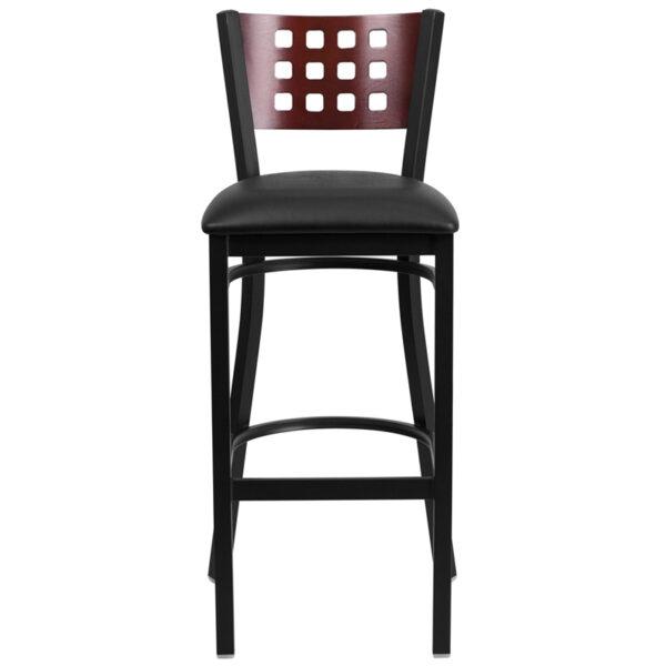 Metal Dining Bar Stool Black Cutout Stool-Black Seat