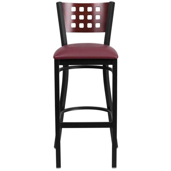 Metal Dining Bar Stool Black Cutout Stool-Burg Seat