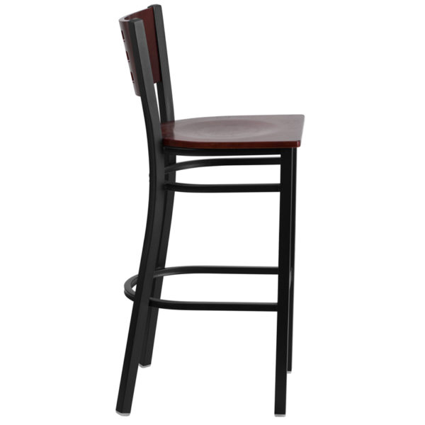 Lowest Price HERCULES Series Black Cutout Back Metal Restaurant Barstool - Mahogany Wood Back & Seat