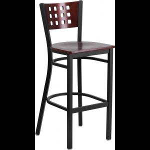 Wholesale HERCULES Series Black Cutout Back Metal Restaurant Barstool - Mahogany Wood Back & Seat