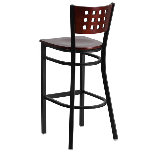 Metal Dining Bar Stool Black Cutout Stool-Mah Seat