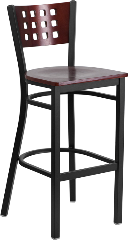Wholesale HERCULES Series Black Cutout Back Metal Restaurant Barstool - Mahogany Wood Back & Seat