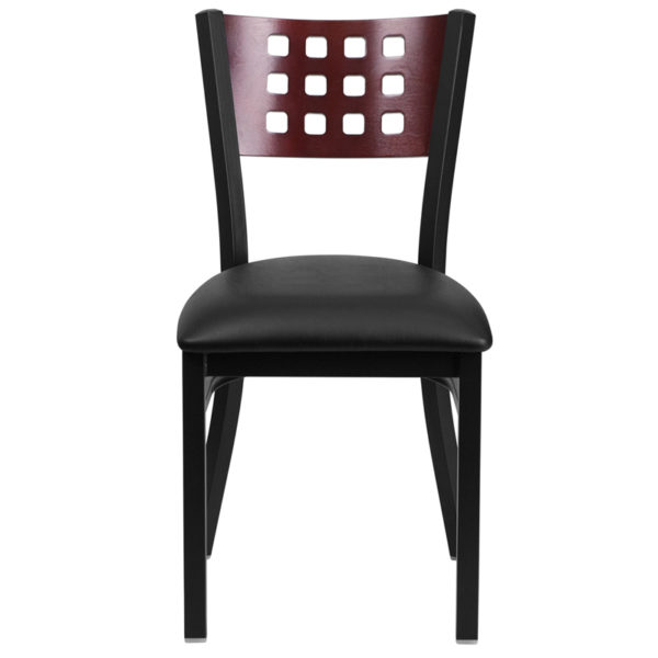 Metal Dining Chair Black Cutout Chair-Black Seat