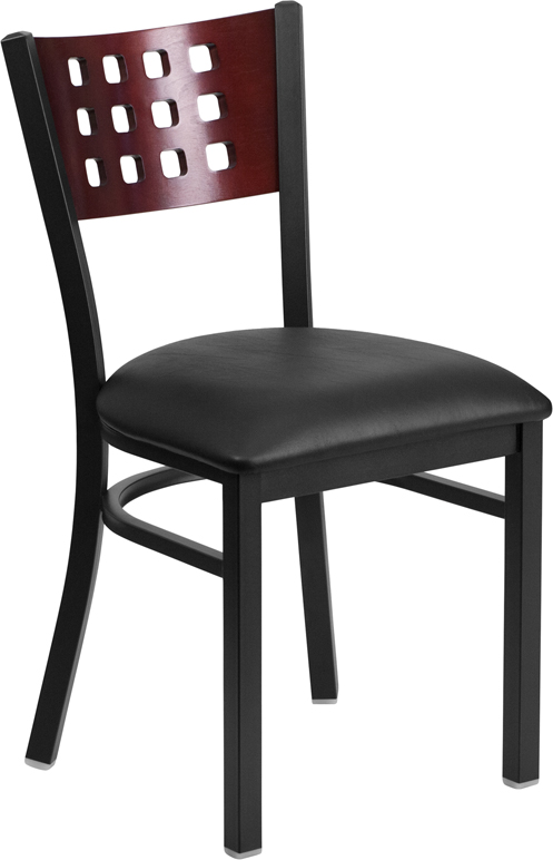 Wholesale HERCULES Series Black Cutout Back Metal Restaurant Chair - Mahogany Wood Back