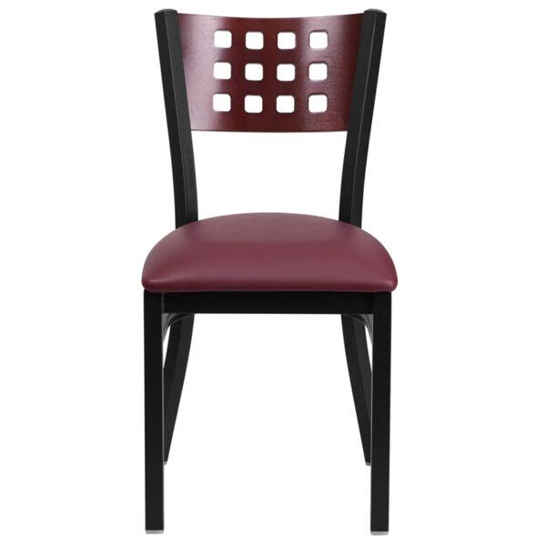 Metal Dining Chair Black Cutout Chair-Burg Seat