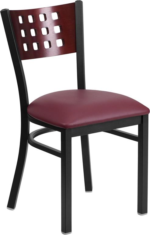Wholesale HERCULES Series Black Cutout Back Metal Restaurant Chair - Mahogany Wood Back