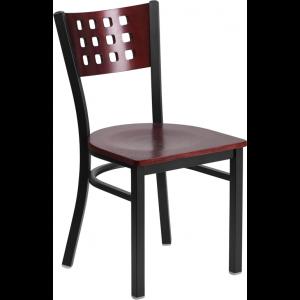 Wholesale HERCULES Series Black Cutout Back Metal Restaurant Chair - Mahogany Wood Back & Seat