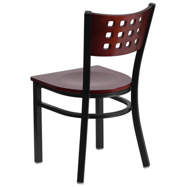 Metal Dining Chair Black Cutout Chair-Mah Seat