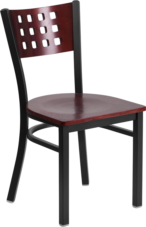 Wholesale HERCULES Series Black Cutout Back Metal Restaurant Chair - Mahogany Wood Back & Seat