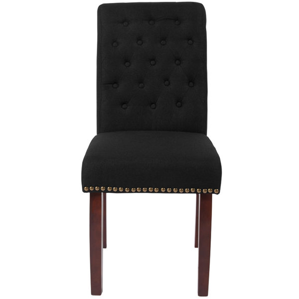 Mid-Century Style Black Fabric Parsons Chair