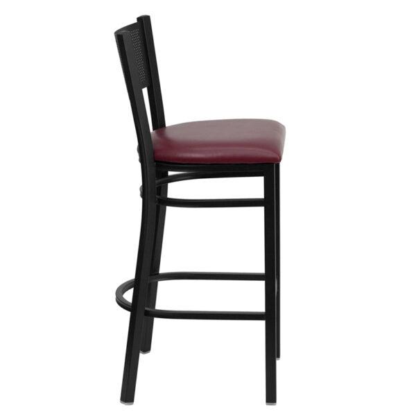Lowest Price HERCULES Series Black Grid Back Metal Restaurant Barstool - Burgundy Vinyl Seat