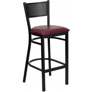 Wholesale HERCULES Series Black Grid Back Metal Restaurant Barstool - Burgundy Vinyl Seat