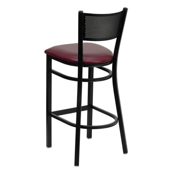 Metal Dining Bar Stool Black Grid Stool-Burg Seat