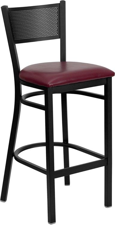 Wholesale HERCULES Series Black Grid Back Metal Restaurant Barstool - Burgundy Vinyl Seat
