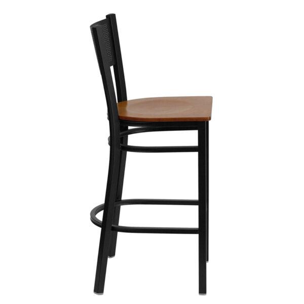 Lowest Price HERCULES Series Black Grid Back Metal Restaurant Barstool - Cherry Wood Seat