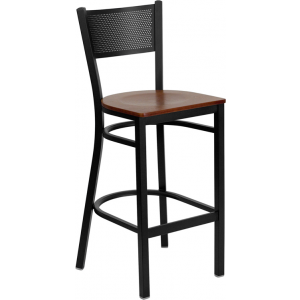 Wholesale HERCULES Series Black Grid Back Metal Restaurant Barstool - Cherry Wood Seat