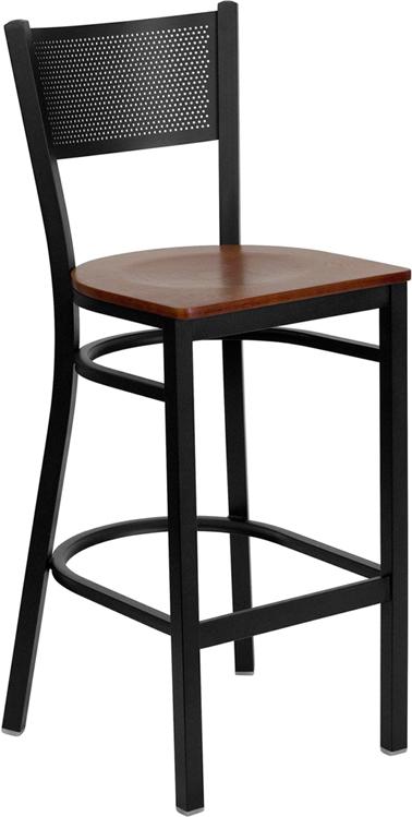 Wholesale HERCULES Series Black Grid Back Metal Restaurant Barstool - Cherry Wood Seat