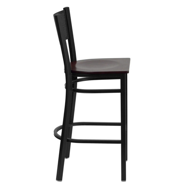 Lowest Price HERCULES Series Black Grid Back Metal Restaurant Barstool - Mahogany Wood Seat