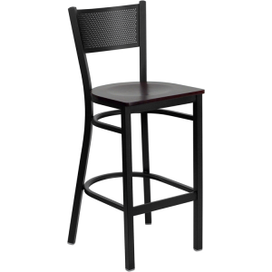 Wholesale HERCULES Series Black Grid Back Metal Restaurant Barstool - Mahogany Wood Seat