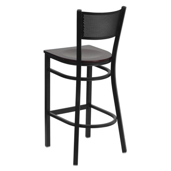 Metal Dining Bar Stool Black Grid Stool-Mah Seat