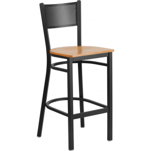 Wholesale HERCULES Series Black Grid Back Metal Restaurant Barstool - Natural Wood Seat