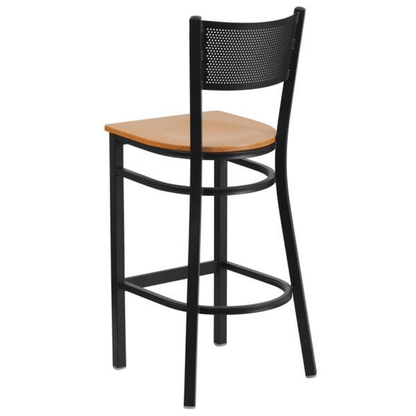 Metal Dining Bar Stool Black Grid Stool-Nat Seat