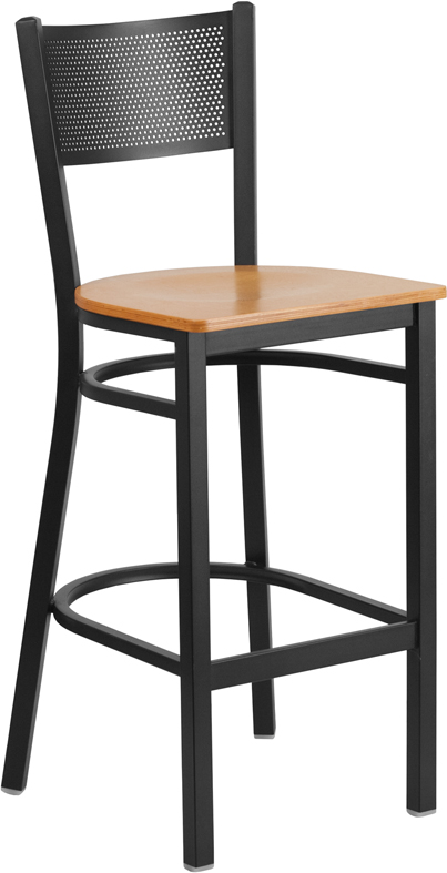 Wholesale HERCULES Series Black Grid Back Metal Restaurant Barstool - Natural Wood Seat