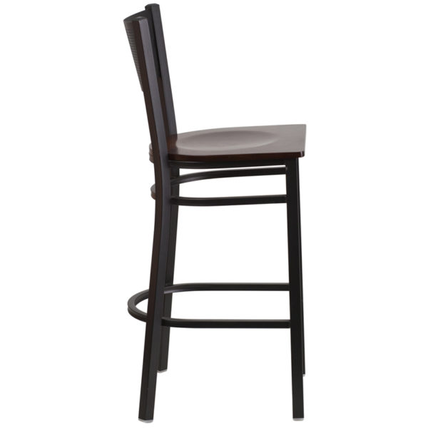 Lowest Price HERCULES Series Black Grid Back Metal Restaurant Barstool - Walnut Wood Seat