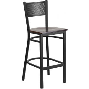 Wholesale HERCULES Series Black Grid Back Metal Restaurant Barstool - Walnut Wood Seat