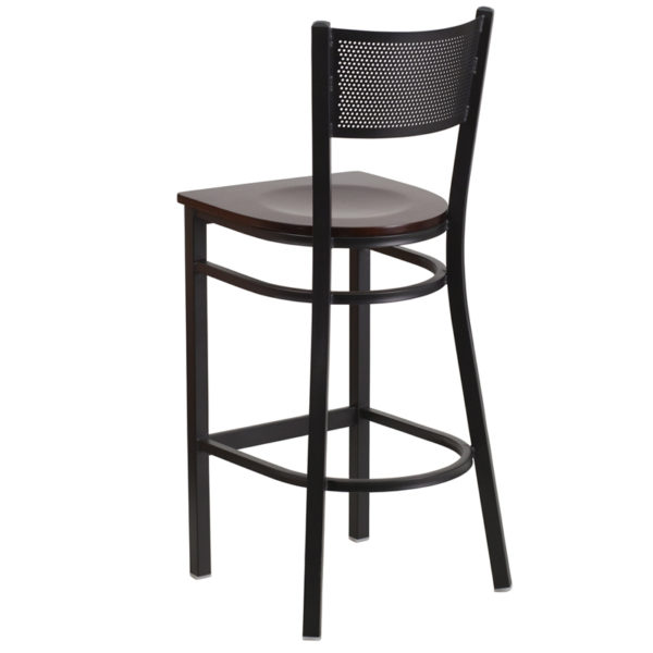 Metal Dining Bar Stool Black Grid Stool-Wal Seat