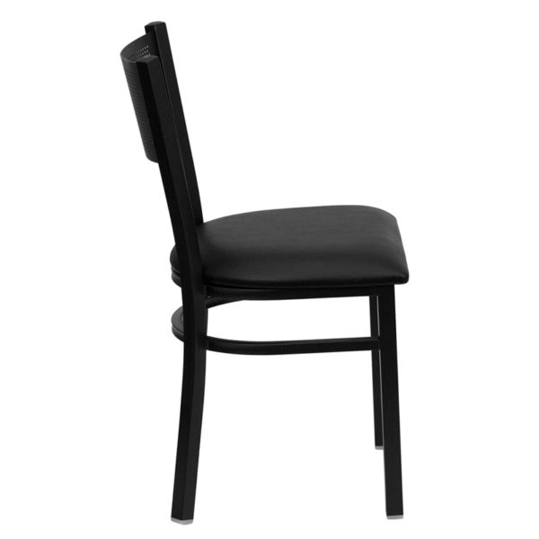 Lowest Price HERCULES Series Black Grid Back Metal Restaurant Chair - Black Vinyl Seat