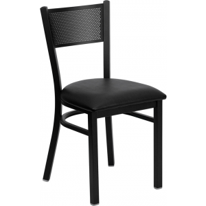 Wholesale HERCULES Series Black Grid Back Metal Restaurant Chair - Black Vinyl Seat