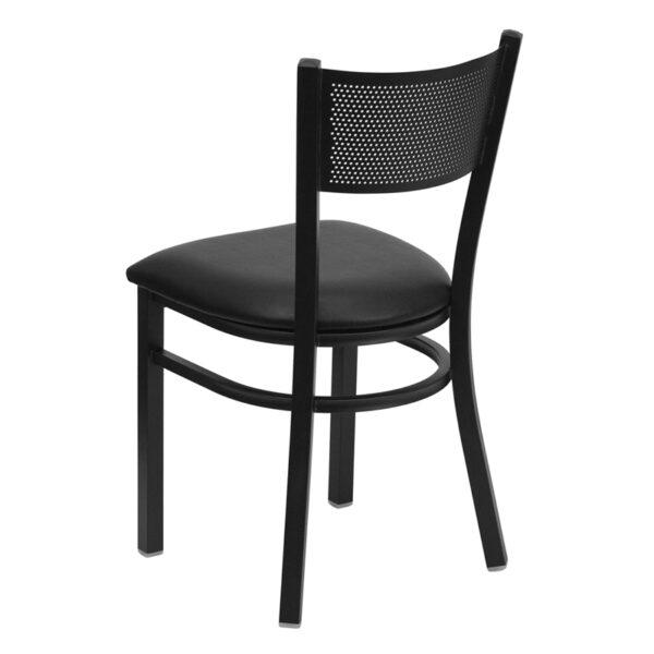Metal Dining Chair Black Grid Chair-Black Seat