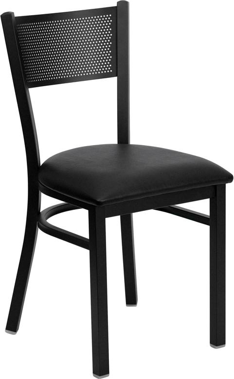 Wholesale HERCULES Series Black Grid Back Metal Restaurant Chair - Black Vinyl Seat